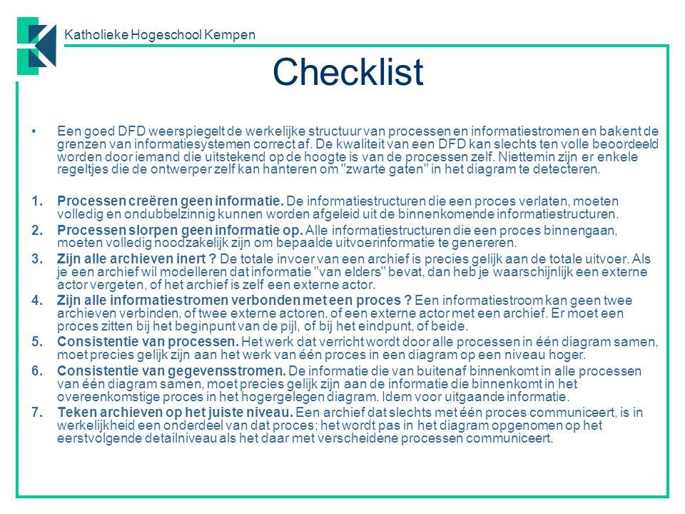 Katholieke Hogeschool Kempen Oefeningen – basics Teken een DFD voor de volgende situaties: o Klanten vragen hun rekeningstand.