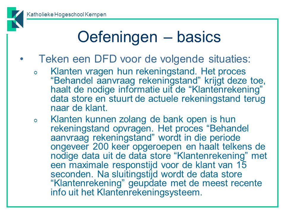 Katholieke Hogeschool Kempen Oefeningen – contextdiagrammen (1) In een contextdiagram komen geen data stores voor.