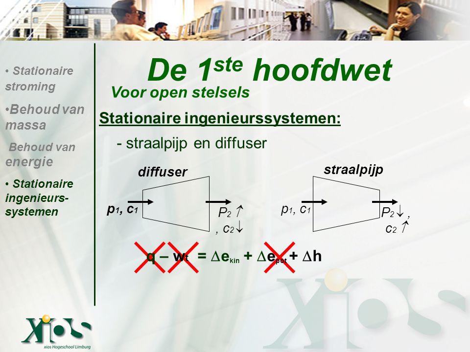 De 1 ste hoofdwet Stationaire ingenieurssystemen: - straalpijp en diffuser q – w t =  e kin +  e pot +  h Voor open stelsels Stationaire stroming B