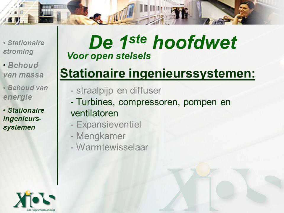 De 1 ste hoofdwet Stationaire ingenieurssystemen: - straalpijp en diffuser - Turbines, compressoren, pompen en ventilatoren - Expansieventiel - Mengka