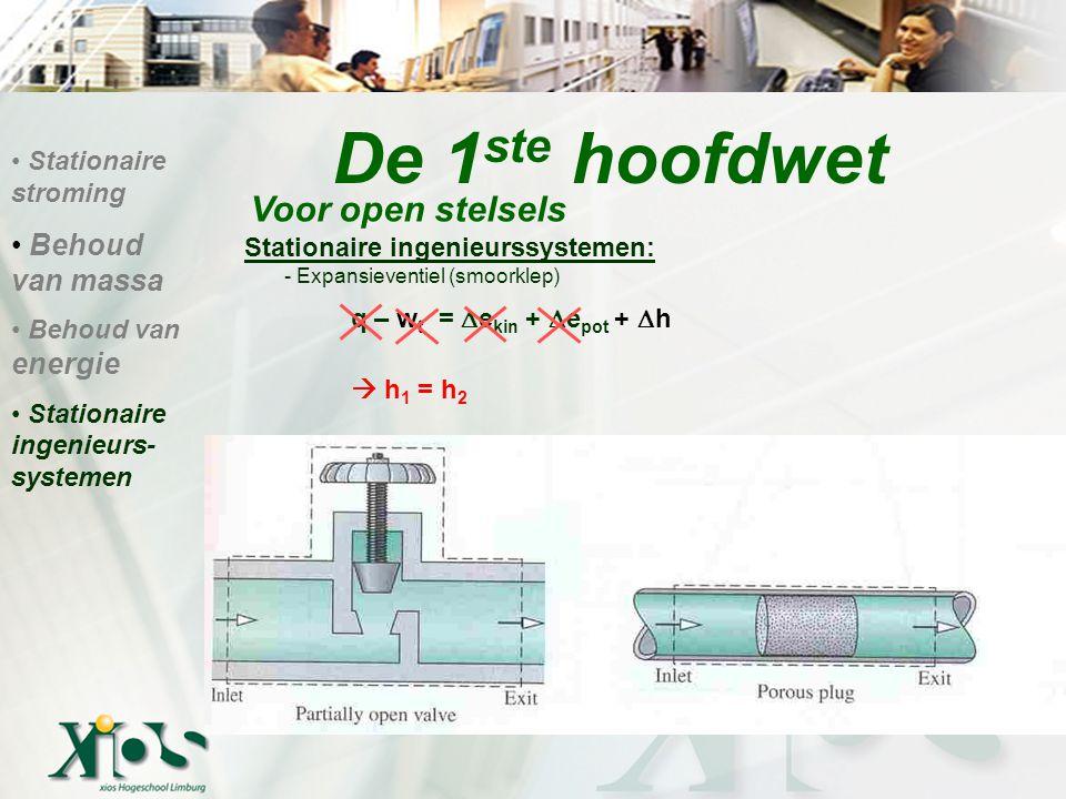Stationaire ingenieurssystemen: - Expansieventiel (smoorklep) q – w t =  e kin +  e pot +  h  h 1 = h 2 De 1 ste hoofdwet Voor open stelsels Stationaire stroming Behoud van massa Behoud van energie Stationaire ingenieurs- systemen