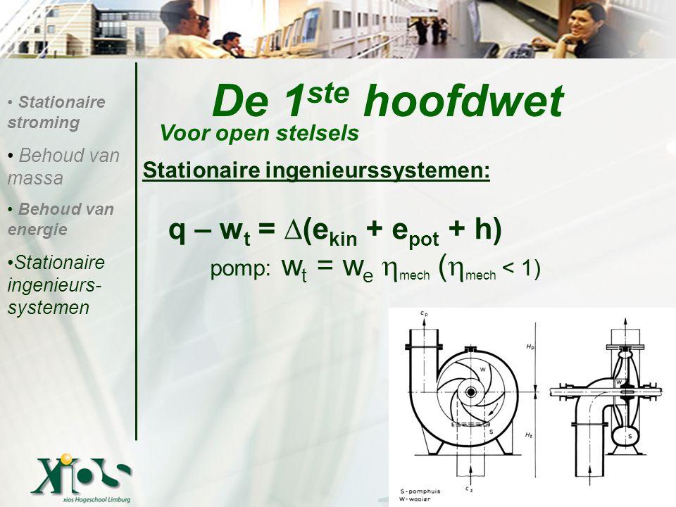 De 1 ste hoofdwet Stationaire ingenieurssystemen: q – w t = ∆(e kin + e pot + h) pomp: w t = w e  mech (  mech < 1) Voor open stelsels Stationaire stroming Behoud van massa Behoud van energie Stationaire ingenieurs- systemen