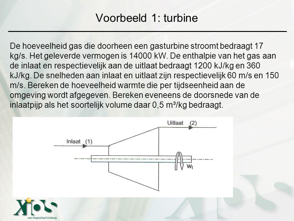 Voorbeeld 1: turbine De hoeveelheid gas die doorheen een gasturbine stroomt bedraagt 17 kg/s. Het geleverde vermogen is 14000 kW. De enthalpie van het