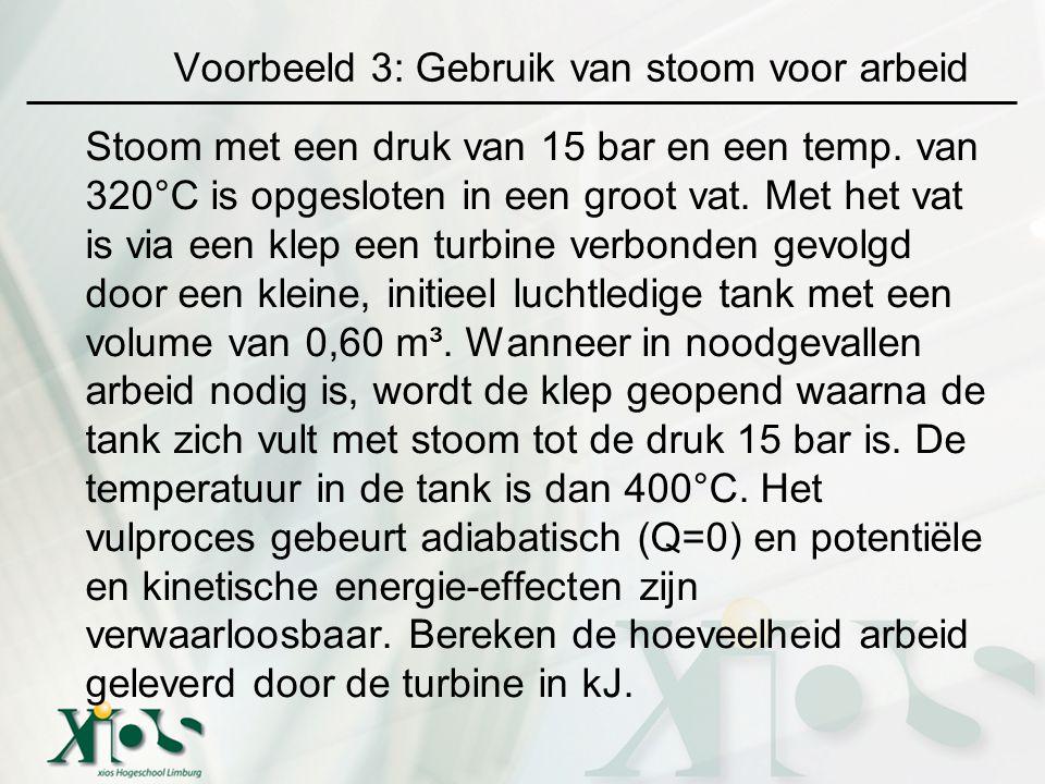 Voorbeeld 3: Gebruik van stoom voor arbeid Stoom met een druk van 15 bar en een temp. van 320°C is opgesloten in een groot vat. Met het vat is via een