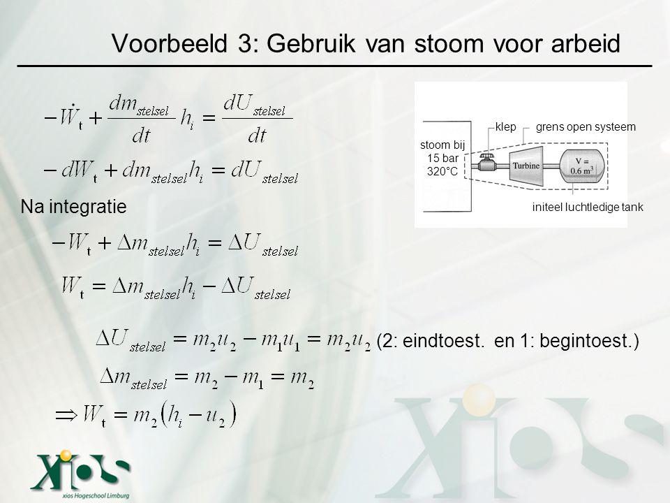 Voorbeeld 3: Gebruik van stoom voor arbeid grens open systeemklep initeel luchtledige tank stoom bij 15 bar 320°C Na integratie (2: eindtoest. en 1: b