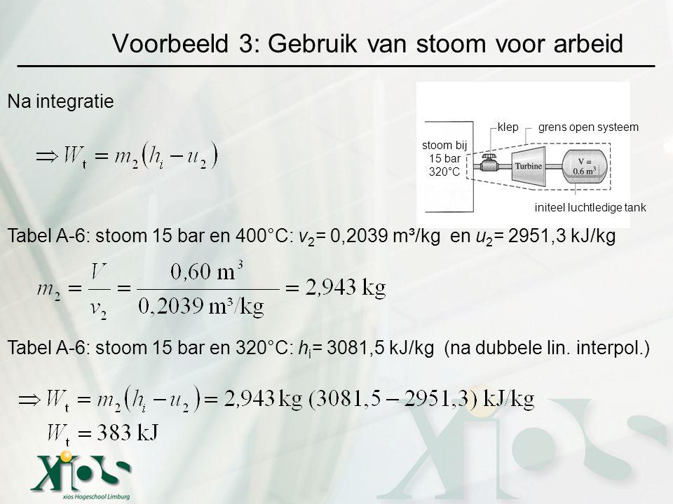 Voorbeeld 3: Gebruik van stoom voor arbeid grens open systeemklep initeel luchtledige tank stoom bij 15 bar 320°C Na integratie Tabel A-6: stoom 15 bar en 400°C: v 2 = 0,2039 m³/kg en u 2 = 2951,3 kJ/kg Tabel A-6: stoom 15 bar en 320°C: h i = 3081,5 kJ/kg (na dubbele lin.