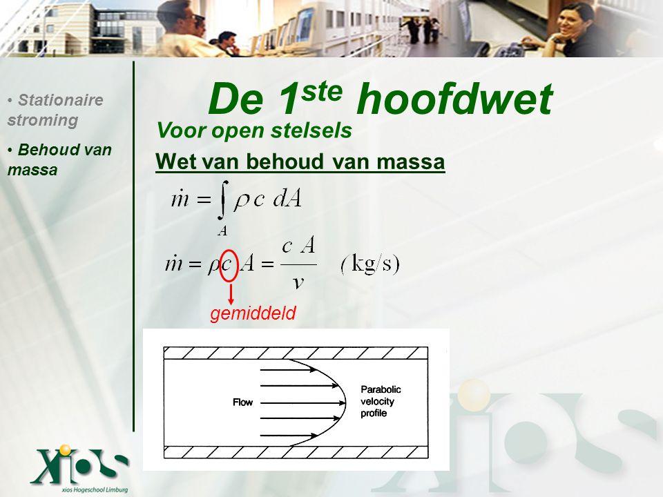 De 1 ste hoofdwet Wet van behoud van massa : Volumedebiet: (m³/s)  m = .