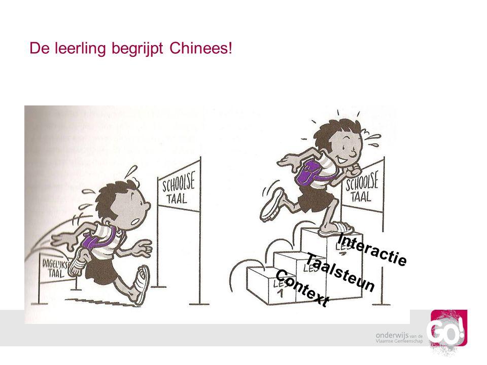 De leerling begrijpt Chinees! Context Interactie Taalsteun