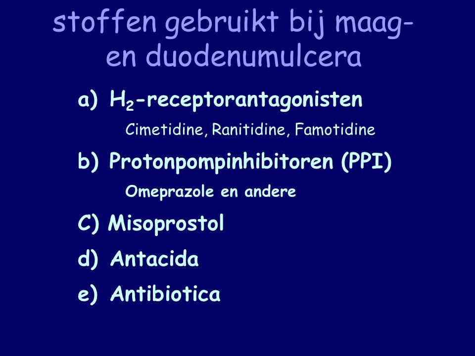 stoffen gebruikt bij maag- en duodenumulcera a)H 2 -receptorantagonisten Cimetidine, Ranitidine, Famotidine b)Protonpompinhibitoren (PPI) Omeprazole e