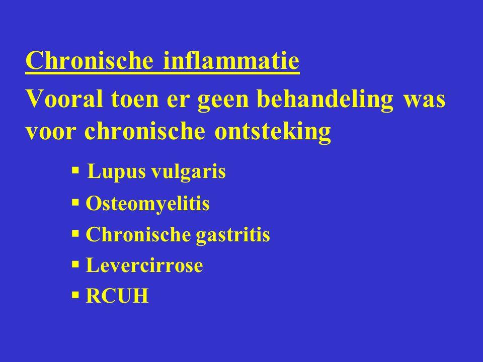 Chronische inflammatie Vooral toen er geen behandeling was voor chronische ontsteking  Lupus vulgaris  Osteomyelitis  Chronische gastritis  Leverc