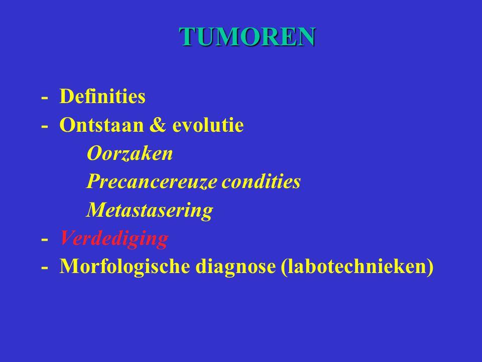TUMOREN -Definities -Ontstaan & evolutie Oorzaken Precancereuze condities Metastasering -Verdediging -Morfologische diagnose (labotechnieken)