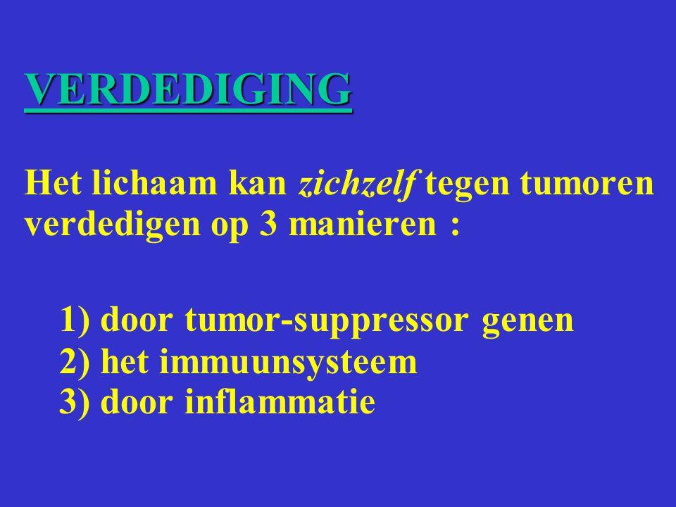 VERDEDIGING Het lichaam kan zichzelf tegen tumoren verdedigen op 3 manieren : 1) door tumor-suppressor genen 2) het immuunsysteem 3) door inflammatie