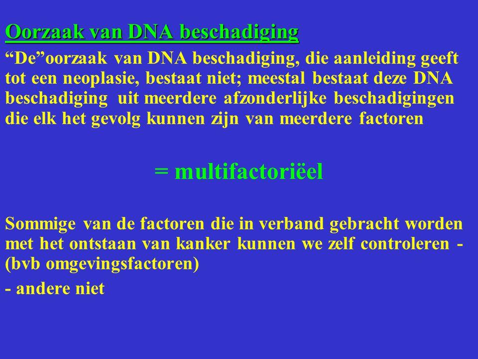 """Oorzaak van DNA beschadiging """"De""""oorzaak van DNA beschadiging, die aanleiding geeft tot een neoplasie, bestaat niet; meestal bestaat deze DNA beschadi"""