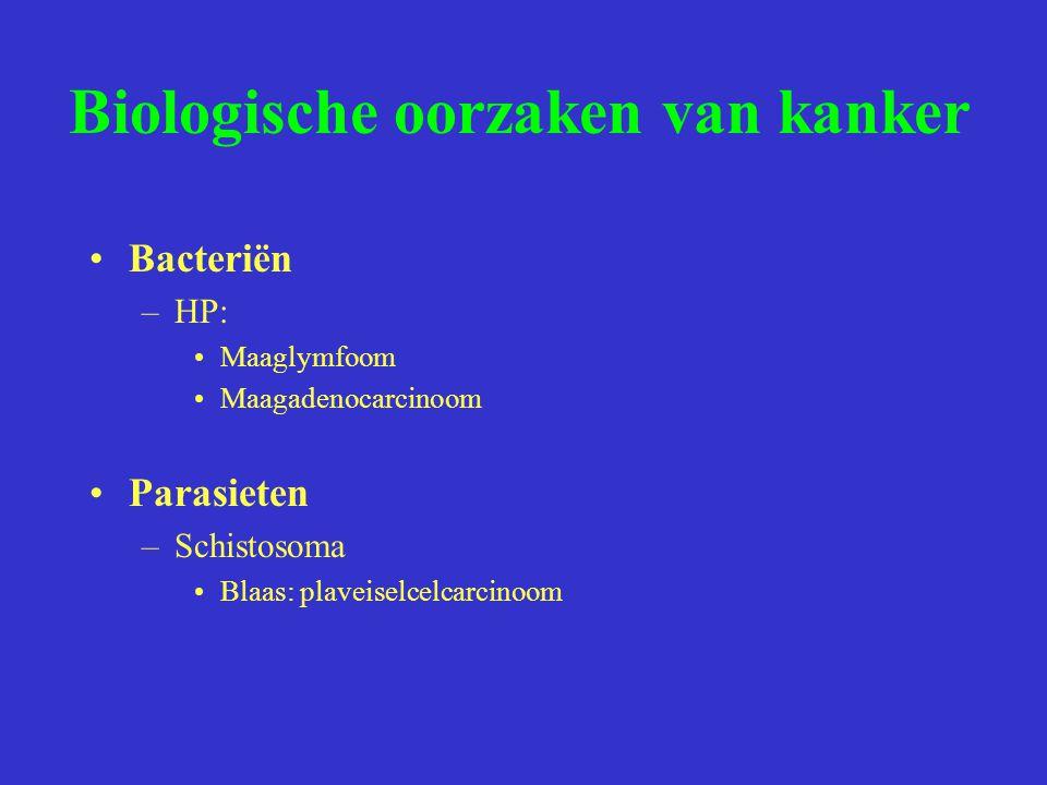 Biologische oorzaken van kanker Bacteriën –HP: Maaglymfoom Maagadenocarcinoom Parasieten –Schistosoma Blaas: plaveiselcelcarcinoom