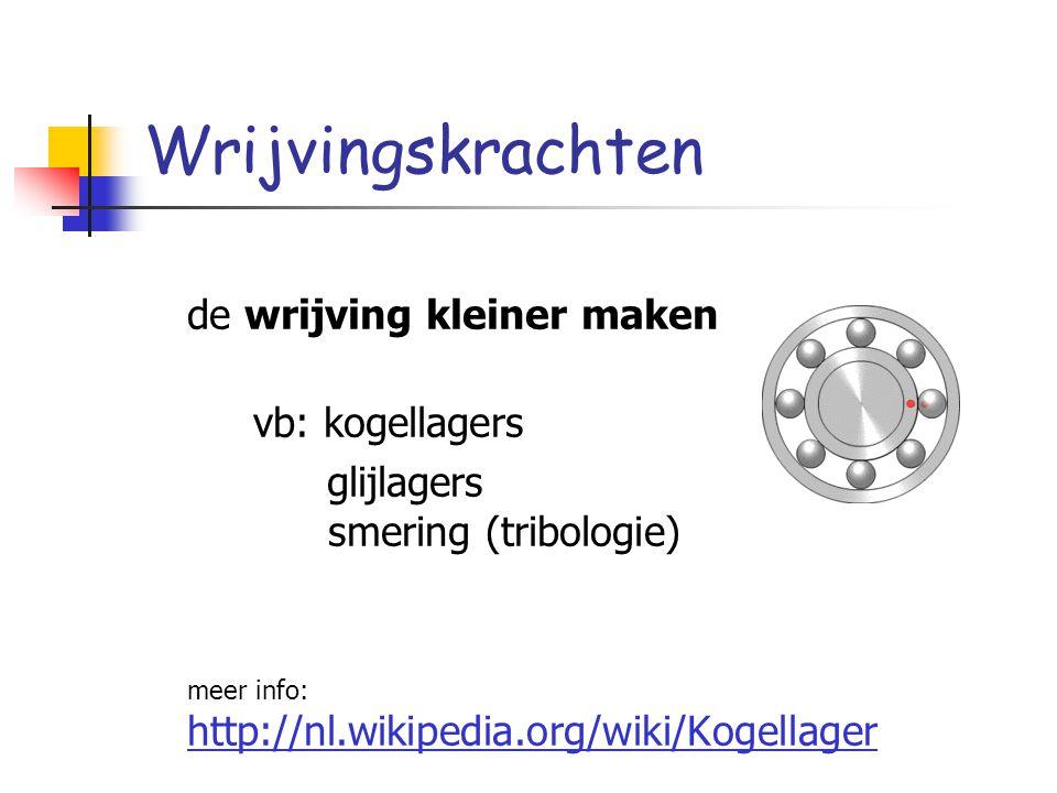 Wrijvingskrachten de wrijving kleiner maken vb: kogellagers glijlagers smering (tribologie) meer info: http://nl.wikipedia.org/wiki/Kogellager
