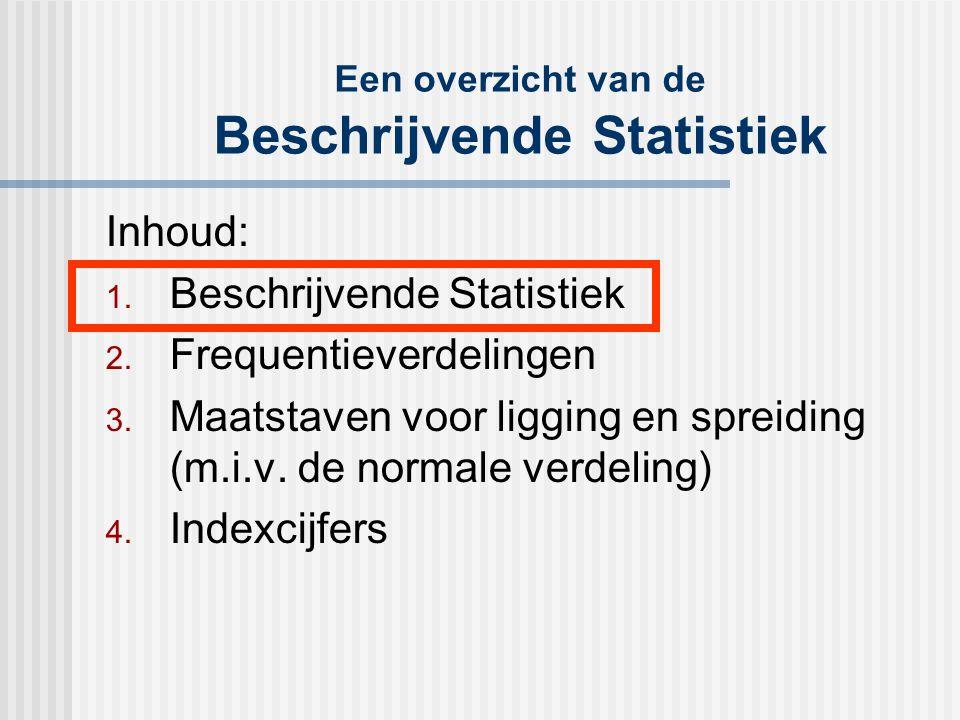 Een overzicht van de Beschrijvende Statistiek Inhoud: 1. Beschrijvende Statistiek 2. Frequentieverdelingen 3. Maatstaven voor ligging en spreiding (m.