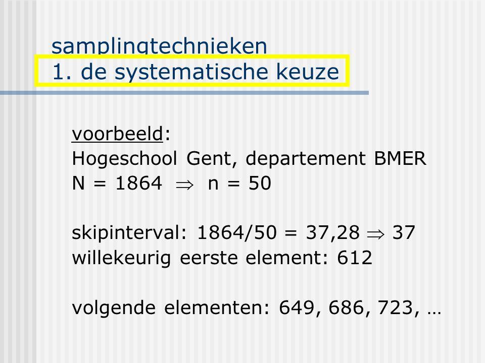 samplingtechnieken 1. de systematische keuze voorbeeld: Hogeschool Gent, departement BMER N = 1864  n = 50 skipinterval: 1864/50 = 37,28  37 willeke