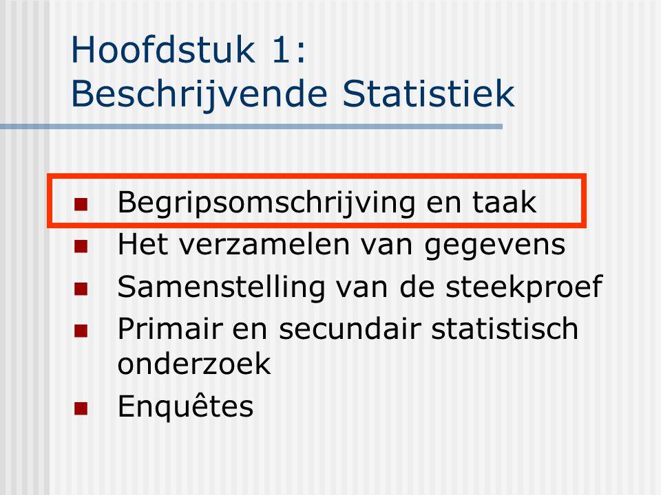 Hoofdstuk 1: Beschrijvende Statistiek Begripsomschrijving en taak Het verzamelen van gegevens Samenstelling van de steekproef Primair en secundair sta
