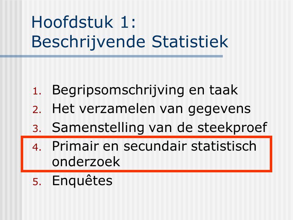 Hoofdstuk 1: Beschrijvende Statistiek 1. Begripsomschrijving en taak 2. Het verzamelen van gegevens 3. Samenstelling van de steekproef 4. Primair en s