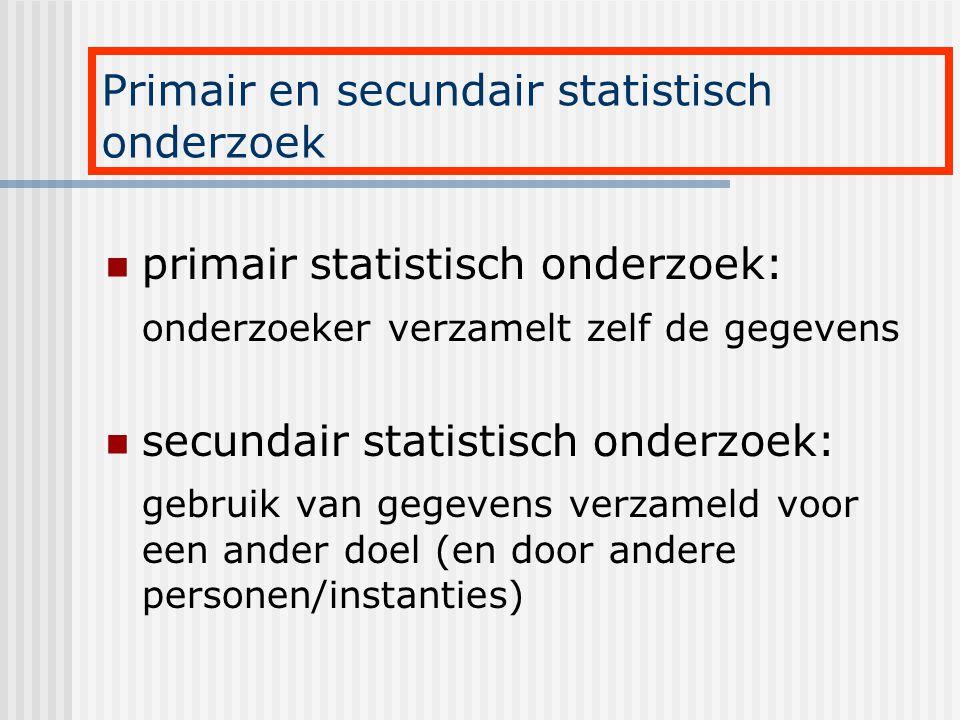 primair statistisch onderzoek: onderzoeker verzamelt zelf de gegevens secundair statistisch onderzoek: gebruik van gegevens verzameld voor een ander d