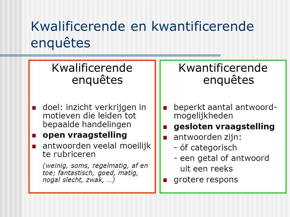 Kwalificerende en kwantificerende enquêtes Kwalificerende enquêtes doel: inzicht verkrijgen in motieven die leiden tot bepaalde handelingen open vraag