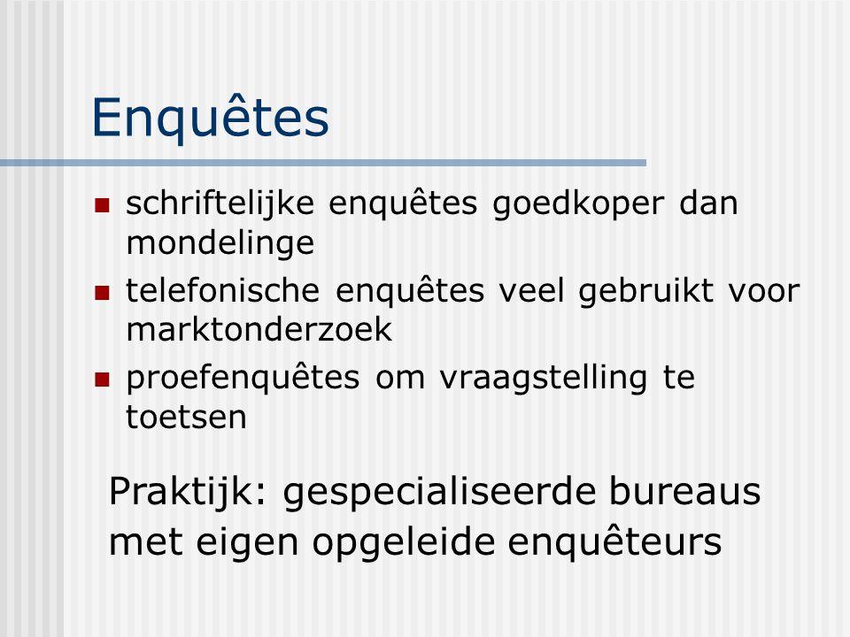 Enquêtes schriftelijke enquêtes goedkoper dan mondelinge telefonische enquêtes veel gebruikt voor marktonderzoek proefenquêtes om vraagstelling te toe