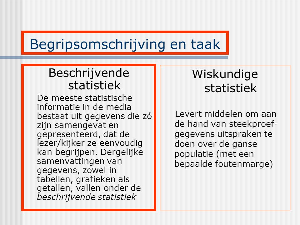 Beschrijvende statistiek De meeste statistische informatie in de media bestaat uit gegevens die zó zijn samengevat en gepresenteerd, dat de lezer/kijk