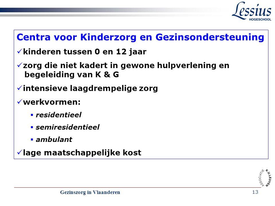 Gezinszorg in Vlaanderen 13 Centra voor Kinderzorg en Gezinsondersteuning kinderen tussen 0 en 12 jaar zorg die niet kadert in gewone hulpverlening en