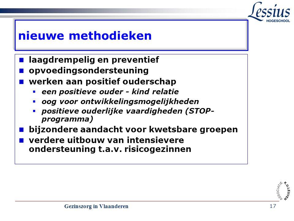 Gezinszorg in Vlaanderen 17 nieuwe methodieken laagdrempelig en preventief opvoedingsondersteuning werken aan positief ouderschap  een positieve oude