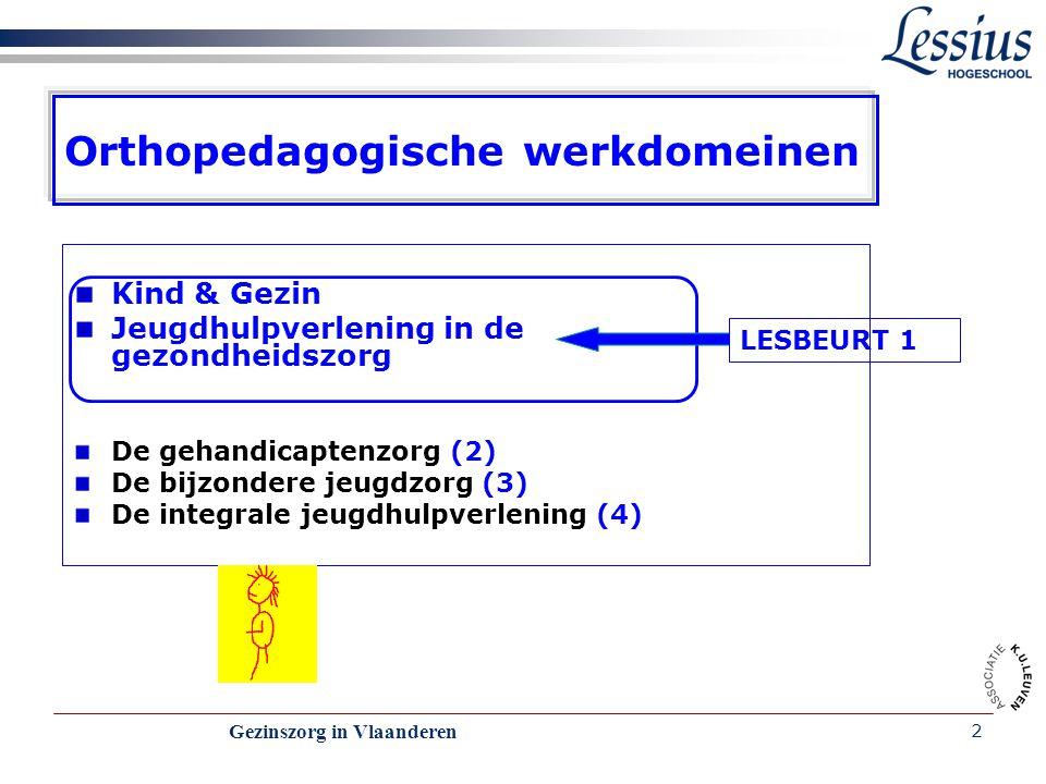Gezinszorg in Vlaanderen 2 Orthopedagogische werkdomeinen Kind & Gezin Jeugdhulpverlening in de gezondheidszorg De gehandicaptenzorg (2) De bijzondere