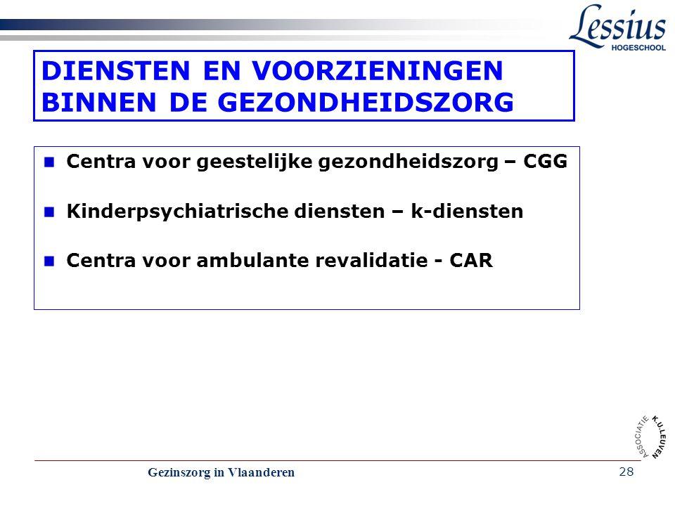 Gezinszorg in Vlaanderen 28 DIENSTEN EN VOORZIENINGEN BINNEN DE GEZONDHEIDSZORG Centra voor geestelijke gezondheidszorg – CGG Kinderpsychiatrische die