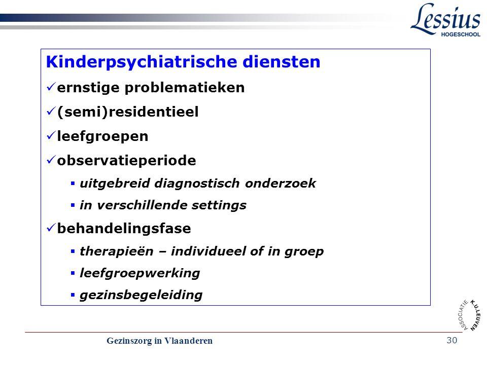 Gezinszorg in Vlaanderen 30 Kinderpsychiatrische diensten ernstige problematieken (semi)residentieel leefgroepen observatieperiode  uitgebreid diagno