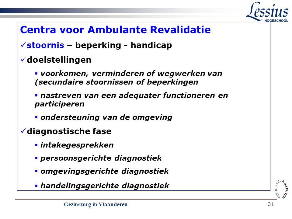 Gezinszorg in Vlaanderen 31 Centra voor Ambulante Revalidatie stoornis – beperking - handicap doelstellingen  voorkomen, verminderen of wegwerken van
