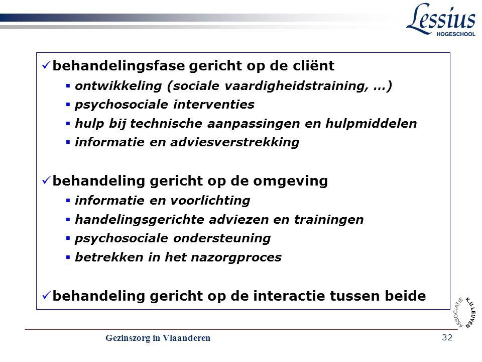 Gezinszorg in Vlaanderen 32 behandelingsfase gericht op de cliënt  ontwikkeling (sociale vaardigheidstraining, …)  psychosociale interventies  hulp