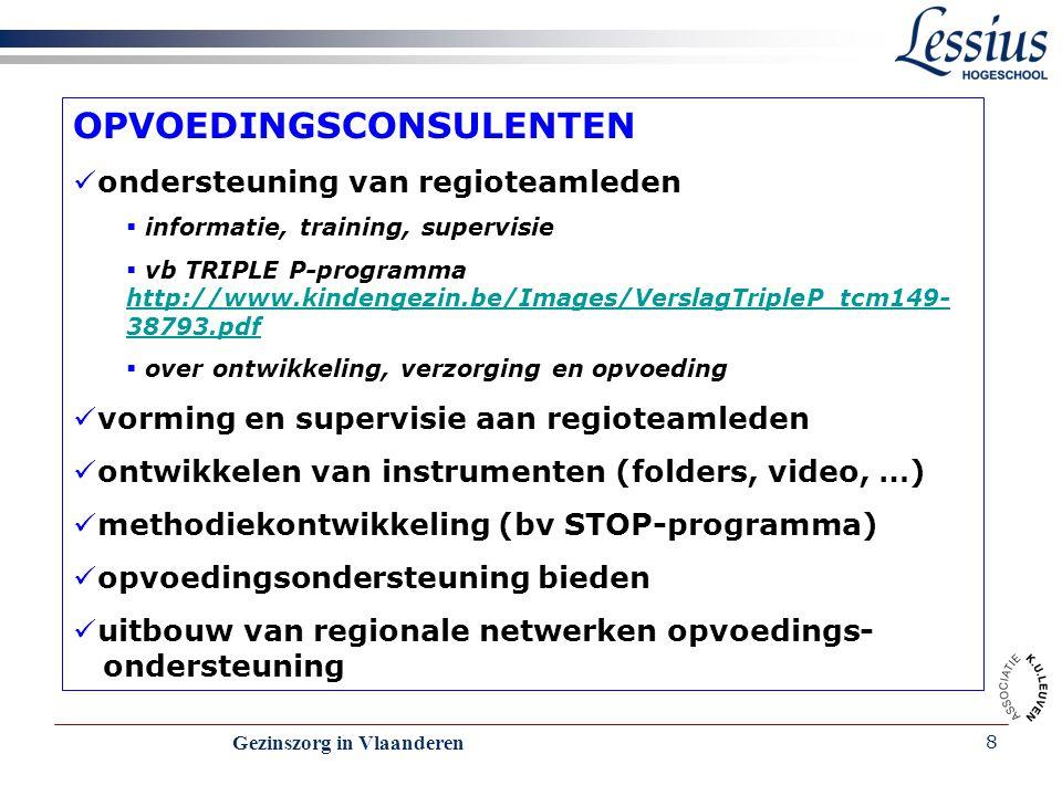 Gezinszorg in Vlaanderen 19 OPVOEDINGSCONSULENTEN ondersteuning van regioteamleden http://www.kindengezin.be/Images/VerslagTripleP_tcm149- 38793.pdf vorming en supervisie aan regioteamleden ontwikkelen van instrumenten (folders, video, …) methodiekontwikkeling (bv STOP-programma) opvoedingsondersteuning bieden uitbouw van regionale netwerken opvoedings- ondersteuning