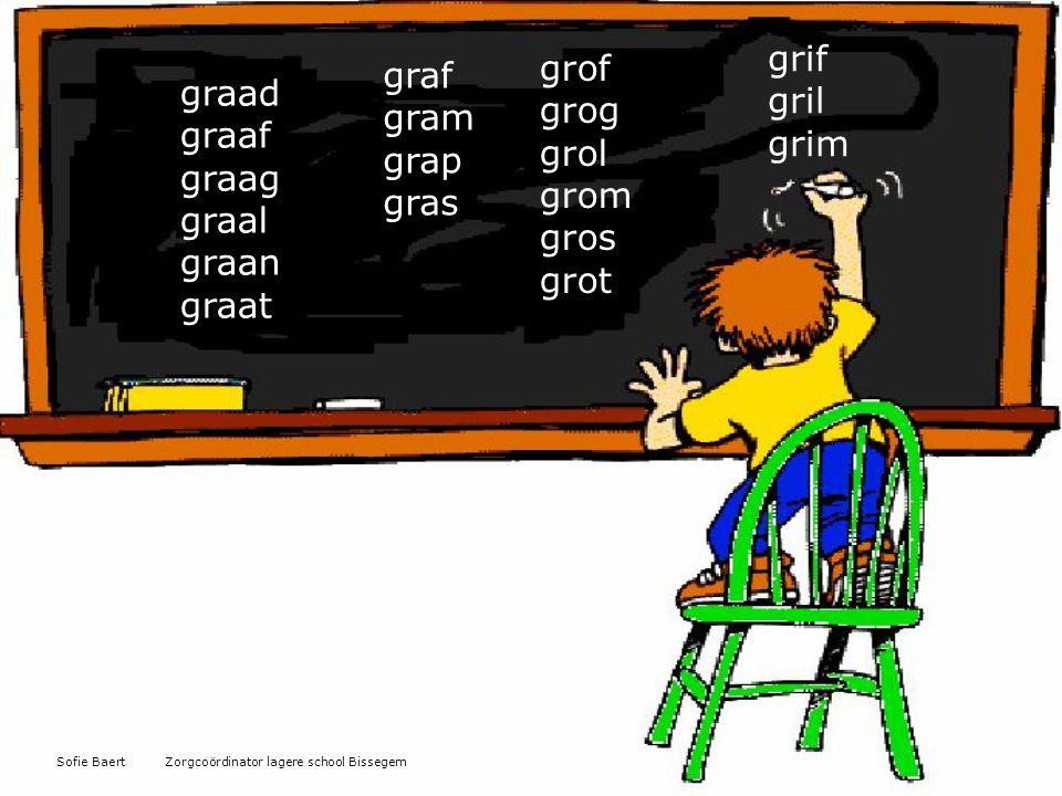 graad graaf graag graal graan graat graf gram grap gras grif gril grim grof grog grol grom gros grot Sofie Baert Zorgcoördinator lagere school Bissege