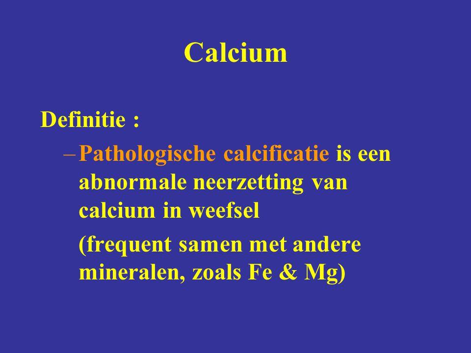 Calcium Definitie : –Pathologische calcificatie is een abnormale neerzetting van calcium in weefsel (frequent samen met andere mineralen, zoals Fe & Mg)