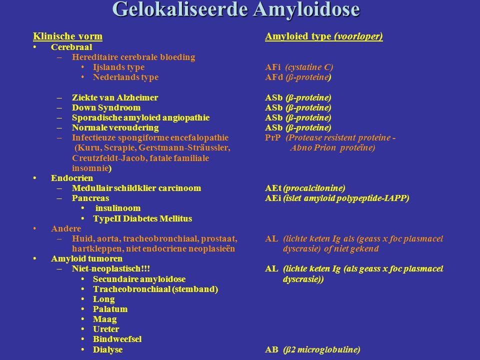 Gelokaliseerde Amyloidose Klinische vorm Cerebraal –Hereditaire cerebrale bloeding Ijslands type Nederlands type –Ziekte van Alzheimer –Down Syndroom