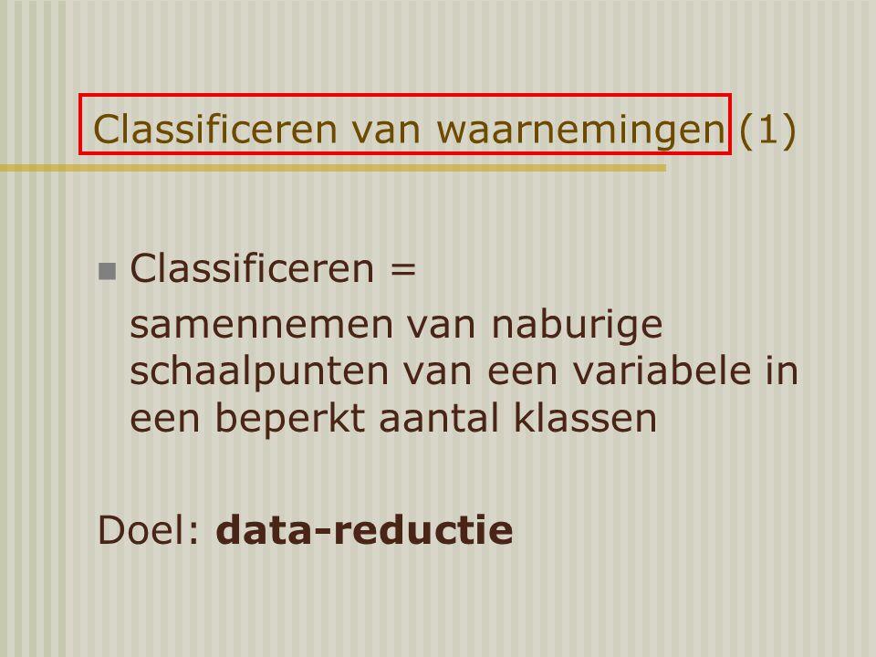 Classificeren van waarnemingen (1) Classificeren = samennemen van naburige schaalpunten van een variabele in een beperkt aantal klassen Doel: data-reductie