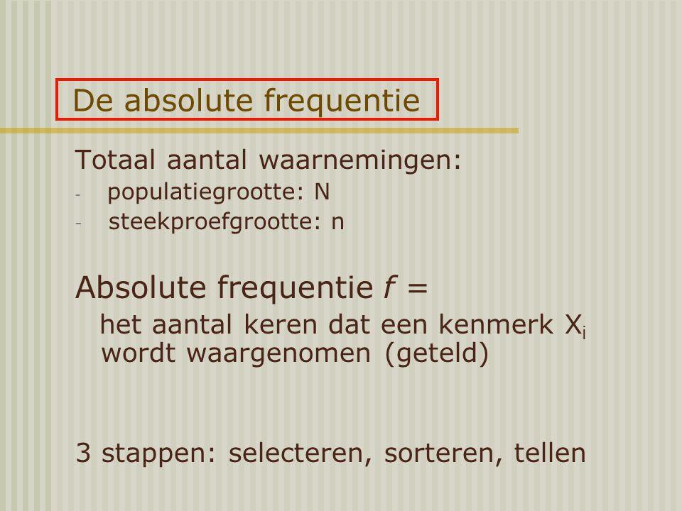 De absolute frequentie Totaal aantal waarnemingen: - populatiegrootte: N - steekproefgrootte: n Absolute frequentie f = het aantal keren dat een kenmerk X i wordt waargenomen (geteld) 3 stappen: selecteren, sorteren, tellen