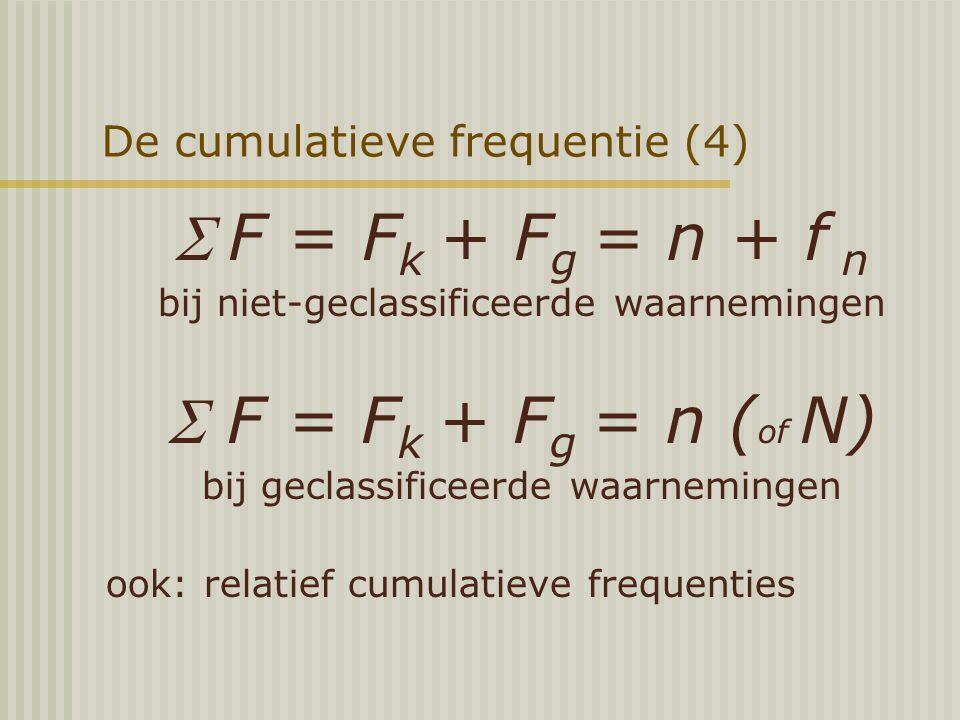 De cumulatieve frequentie (4) F = F k + F g = n + f n bij niet-geclassificeerde waarnemingen  F = F k + F g = n ( of N) bij geclassificeerde waarnemingen ook: relatief cumulatieve frequenties