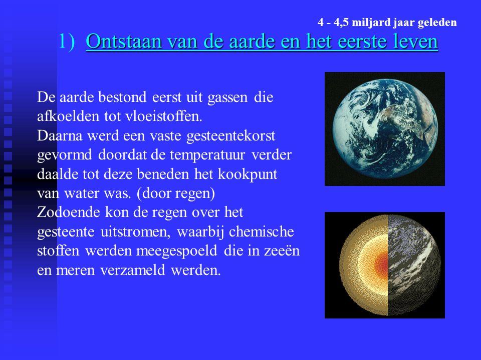 Ontstaan van de aarde en het eerste leven 1) Ontstaan van de aarde en het eerste leven De aarde bestond eerst uit gassen die afkoelden tot vloeistoffen.