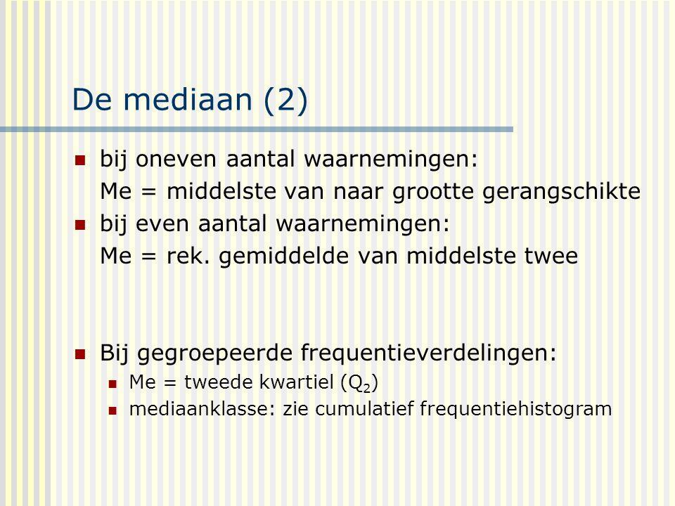 De mediaan (2) bij oneven aantal waarnemingen: Me = middelste van naar grootte gerangschikte bij even aantal waarnemingen: Me = rek.