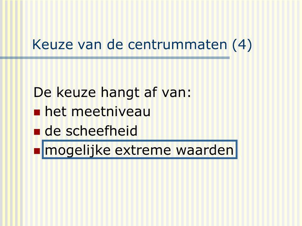 Keuze van de centrummaten (4) De keuze hangt af van: het meetniveau de scheefheid mogelijke extreme waarden