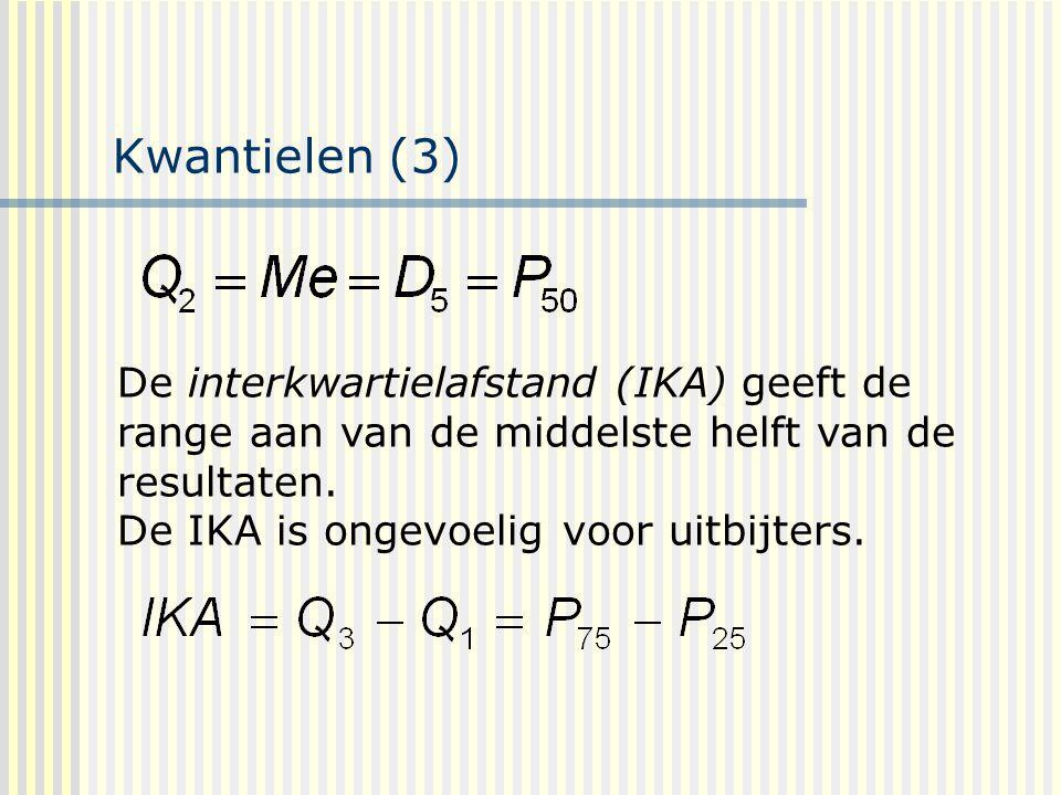 Kwantielen (3) De interkwartielafstand (IKA) geeft de range aan van de middelste helft van de resultaten.