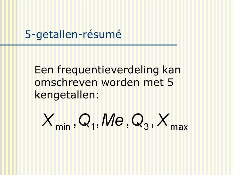 5-getallen-résumé Een frequentieverdeling kan omschreven worden met 5 kengetallen: