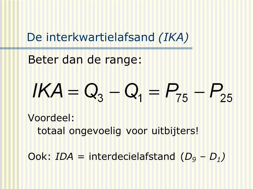 De interkwartielafsand (IKA) Beter dan de range: Voordeel: totaal ongevoelig voor uitbijters.