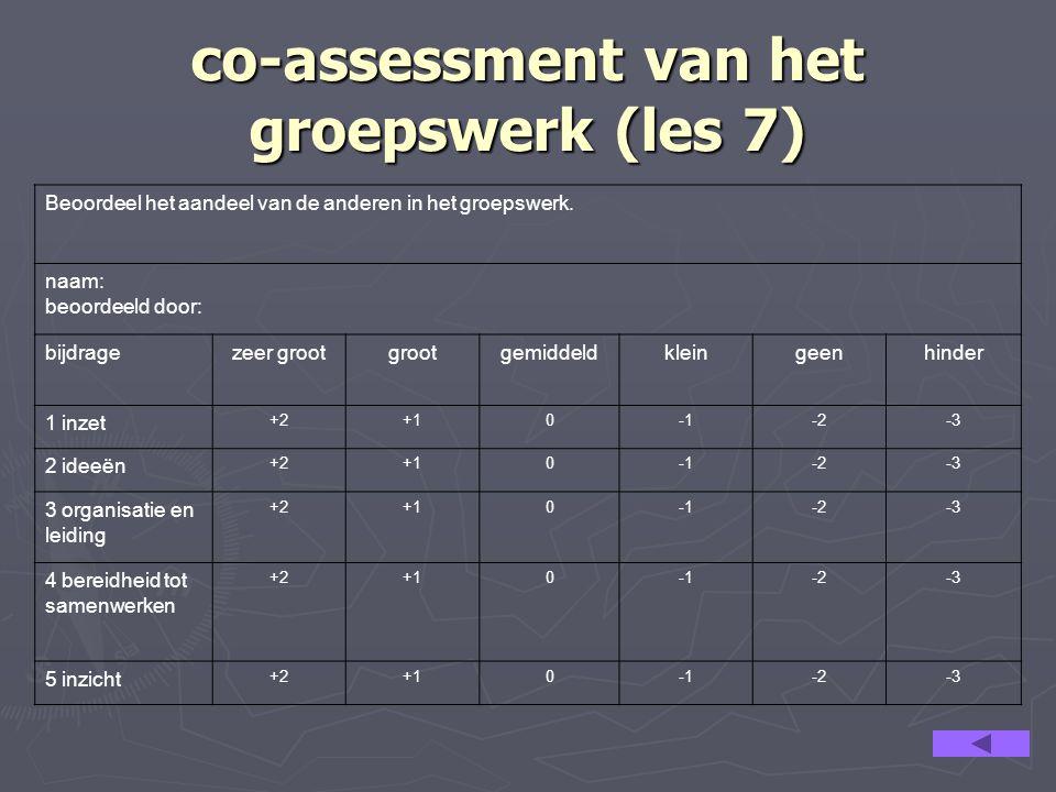 co-assessment van het groepswerk (les 7) Beoordeel het aandeel van de anderen in het groepswerk. naam: beoordeeld door: bijdragezeer grootgrootgemidde