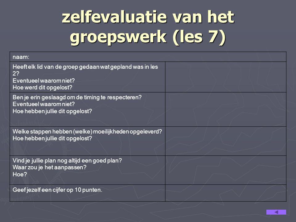 co-assessment van het groepswerk (les 7) Beoordeel het aandeel van de anderen in het groepswerk.