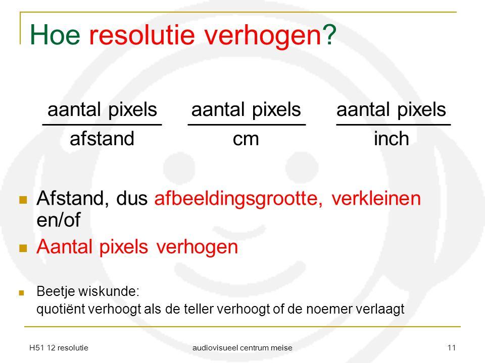 H51 12 resolutie audiovisueel centrum meise 11 Hoe resolutie verhogen? Afstand, dus afbeeldingsgrootte, verkleinen en/of Aantal pixels verhogen Beetje